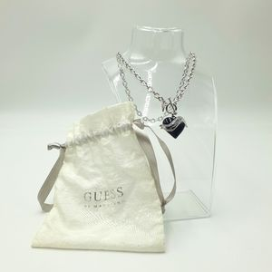 Guess Silver & Black Banner Heart Pendant Chain Link Front Open Necklace